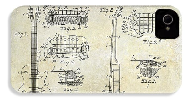 Gibson Les Paul Patent Drawing IPhone 4 / 4s Case by Jon Neidert