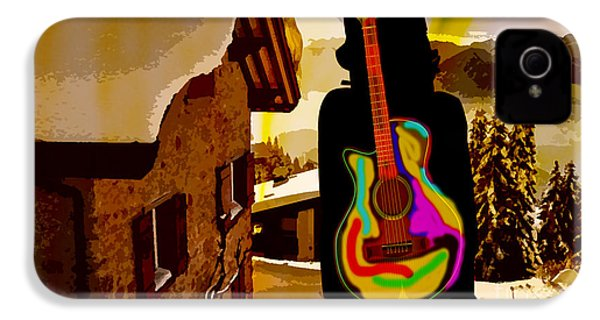 Girl Guitar Mountain Top IPhone 4 / 4s Case by Marvin Blaine