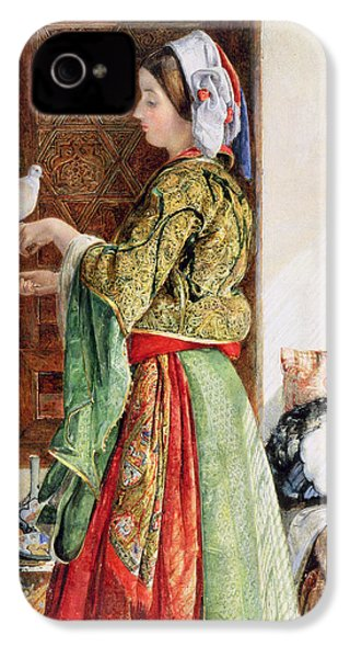 Girl With Two Caged Doves, Cairo, 1864 IPhone 4 / 4s Case by John Frederick Lewis