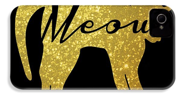 Golden Glitter Cat - Meow IPhone 4 / 4s Case by Pati Photography