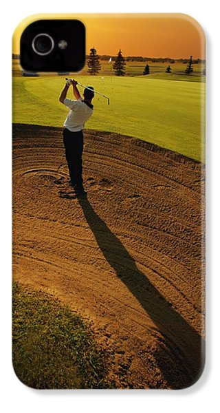 Golfer Taking A Swing From A Golf Bunker IPhone 4 / 4s Case by Darren Greenwood