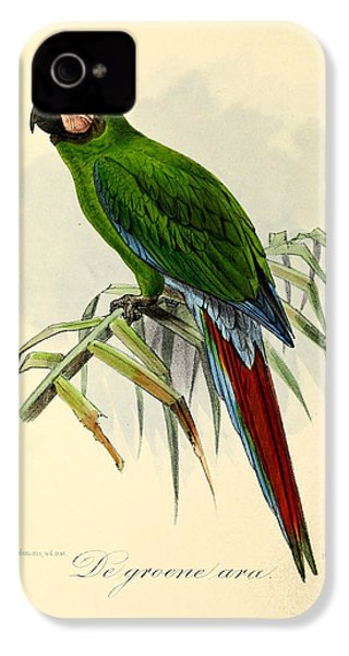 Green Parrot IPhone 4 / 4s Case by J G Keulemans