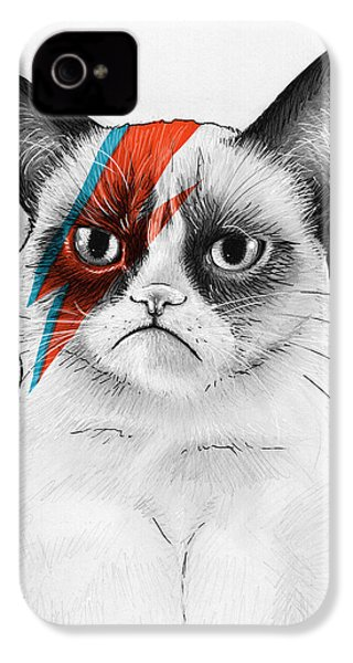 Grumpy Cat As David Bowie IPhone 4 / 4s Case by Olga Shvartsur