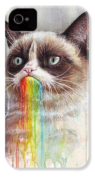 Grumpy Cat Tastes The Rainbow IPhone 4 / 4s Case by Olga Shvartsur