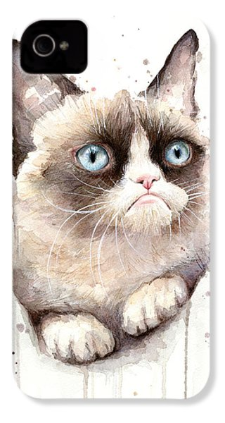 Grumpy Cat Watercolor IPhone 4 / 4s Case by Olga Shvartsur
