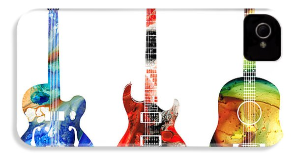 Guitar Threesome - Colorful Guitars By Sharon Cummings IPhone 4 / 4s Case by Sharon Cummings