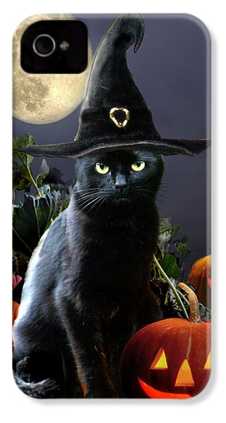 Witchy Black Halloween Cat IPhone 4 / 4s Case by Regina Femrite