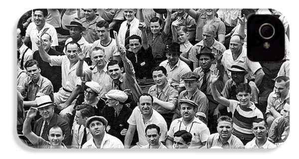 Happy Baseball Fans In The Bleachers At Yankee Stadium. IPhone 4 / 4s Case by Underwood Archives