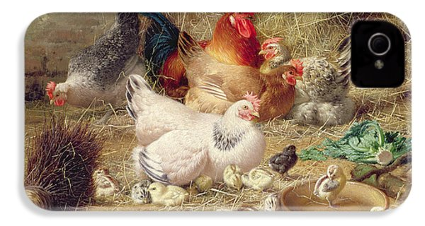 Hens Roosting With Their Chickens IPhone 4 / 4s Case by Eugene Remy Maes