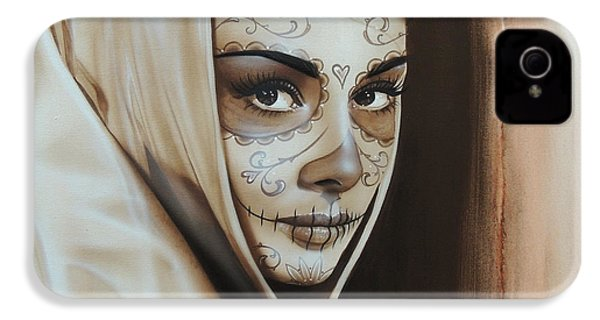 Audrey Hepburn - ' Hepburn De Los Muertos ' IPhone 4 / 4s Case by Christian Chapman Art