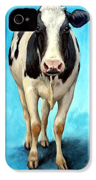 Holstein Cow Standing On Turquoise IPhone 4 / 4s Case by Dottie Dracos