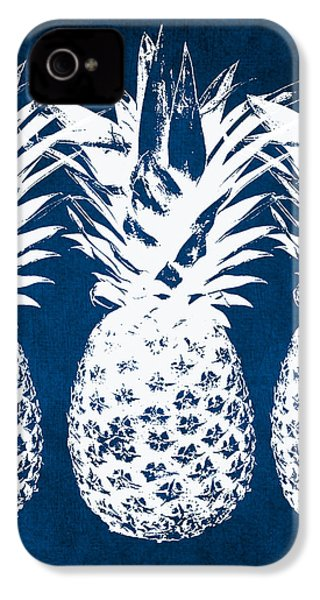 Indigo And White Pineapples IPhone 4 / 4s Case by Linda Woods
