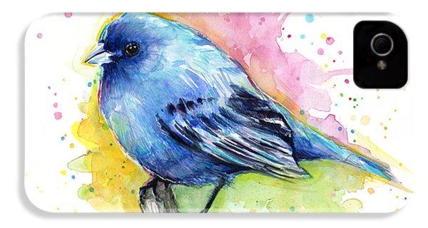 Indigo Bunting Blue Bird Watercolor IPhone 4 / 4s Case by Olga Shvartsur