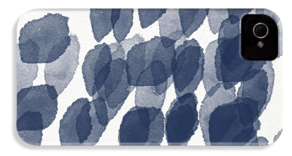 Indigo Rain- Abstract Blue And White Painting IPhone 4 / 4s Case by Linda Woods