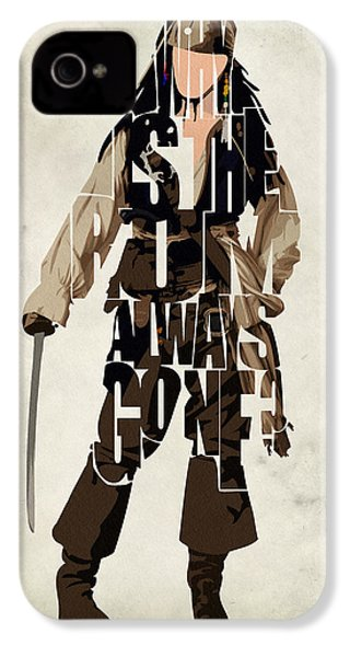 Jack Sparrow Inspired Pirates Of The Caribbean Typographic Poster IPhone 4 / 4s Case by Ayse Deniz