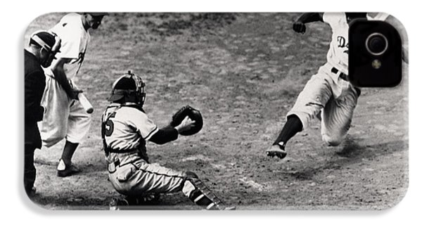 Jackie Robinson In Action IPhone 4 / 4s Case by Gianfranco Weiss