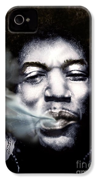 Jimi Hendrix-burning Lights-2 IPhone 4 / 4s Case by Reggie Duffie