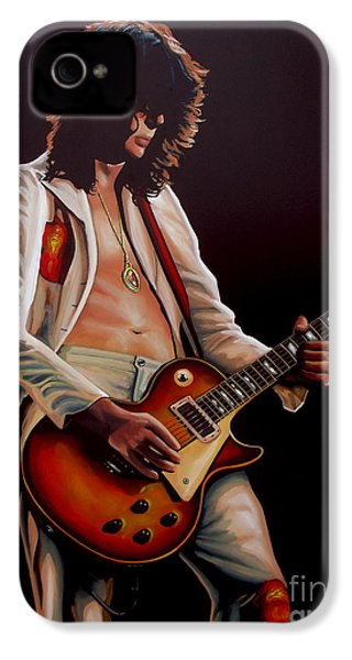 Jimmy Page In Led Zeppelin Painting IPhone 4 / 4s Case by Paul Meijering