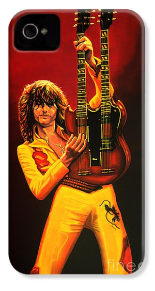 Jimmy Page Painting IPhone 4 / 4s Case by Paul Meijering