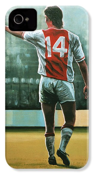 Johan Cruijff Nr 14 Painting IPhone 4 / 4s Case by Paul Meijering