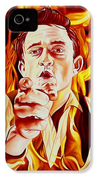 Johnny Cash And It Burns IPhone 4 / 4s Case by Joshua Morton