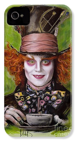 Johnny Depp As Mad Hatter IPhone 4 / 4s Case by Melanie D