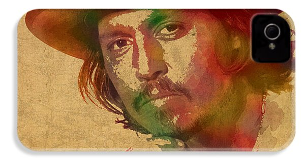 Johnny Depp Watercolor Portrait On Worn Distressed Canvas IPhone 4 / 4s Case by Design Turnpike
