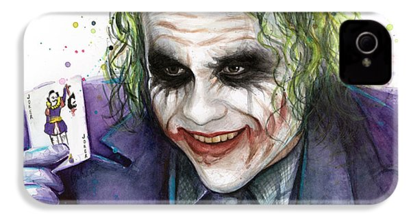 Joker Watercolor Portrait IPhone 4 / 4s Case by Olga Shvartsur