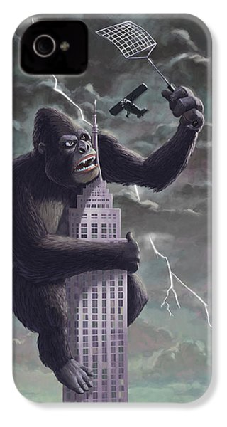 King Kong Plane Swatter IPhone 4 / 4s Case by Martin Davey