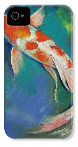 Kohaku Butterfly Koi IPhone 4 / 4s Case by Michael Creese