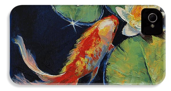 Koi And White Lily IPhone 4 / 4s Case by Michael Creese