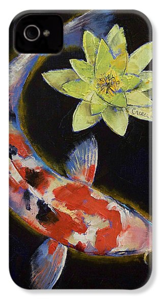 Koi With Yellow Water Lily IPhone 4 / 4s Case by Michael Creese