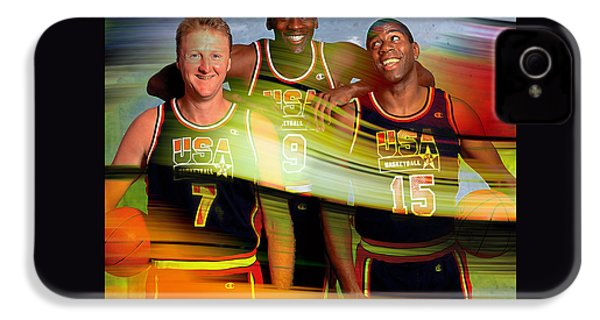 Larry Bird Michael Jordon And Magic Johnson IPhone 4 / 4s Case by Marvin Blaine