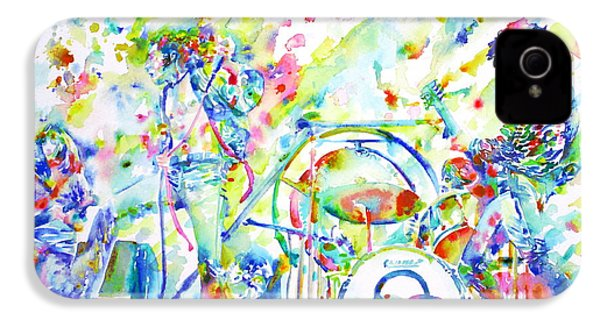 Led Zeppelin Live Concert - Watercolor Painting IPhone 4 / 4s Case by Fabrizio Cassetta