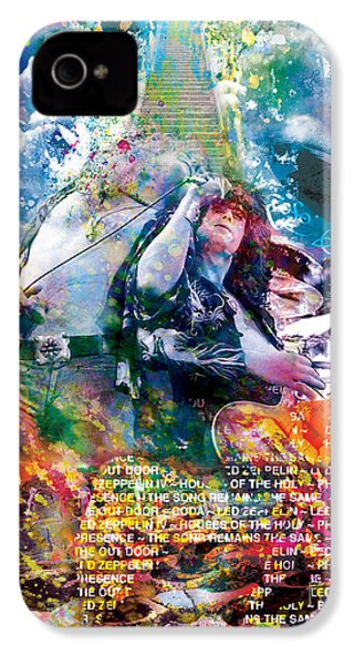 Led Zeppelin Original Painting Print  IPhone 4 / 4s Case by Ryan Rock Artist