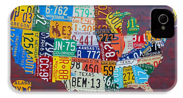 License Plate Map Of The United States IPhone 4 / 4s Case by Design Turnpike