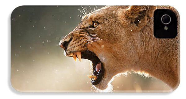 Lioness Displaying Dangerous Teeth In A Rainstorm IPhone 4 / 4s Case by Johan Swanepoel