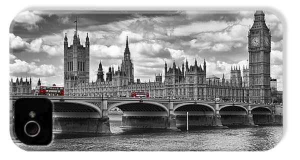 London - Houses Of Parliament And Red Buses IPhone 4 / 4s Case by Melanie Viola
