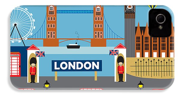 London England Skyline Style O-lon IPhone 4 / 4s Case by Karen Young