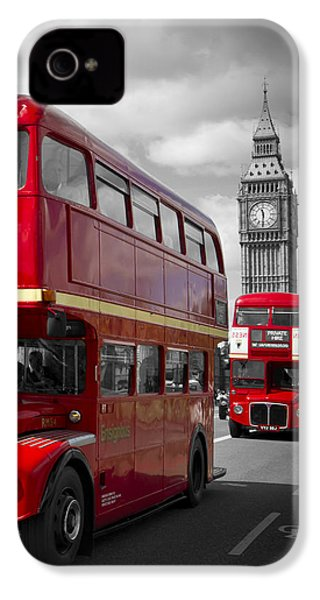 London Red Buses On Westminster Bridge IPhone 4 / 4s Case by Melanie Viola