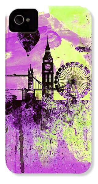 London Skyline Watercolor 1 IPhone 4 / 4s Case by Naxart Studio