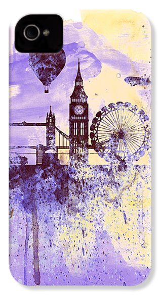 London Watercolor Skyline IPhone 4 / 4s Case by Naxart Studio