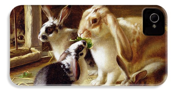 Long-eared Rabbits In A Cage Watched By A Cat IPhone 4 / 4s Case by Horatio Henry Couldery