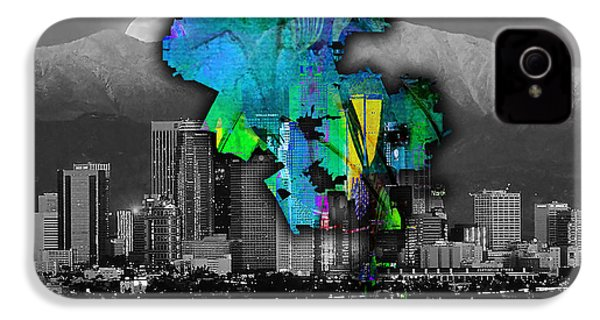 Los Angeles Map And Skyline Watercolor IPhone 4 / 4s Case by Marvin Blaine