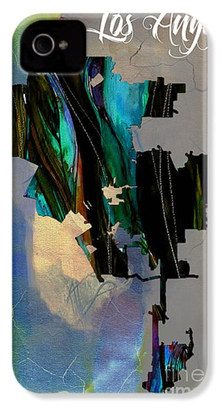 Los Angeles Map Watercolor IPhone 4 / 4s Case by Marvin Blaine