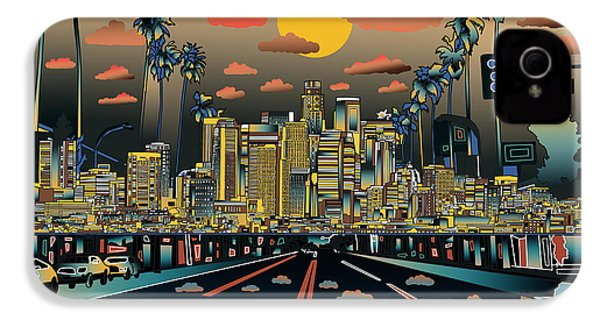 Los Angeles Skyline Abstract 2 IPhone 4 / 4s Case by Bekim Art