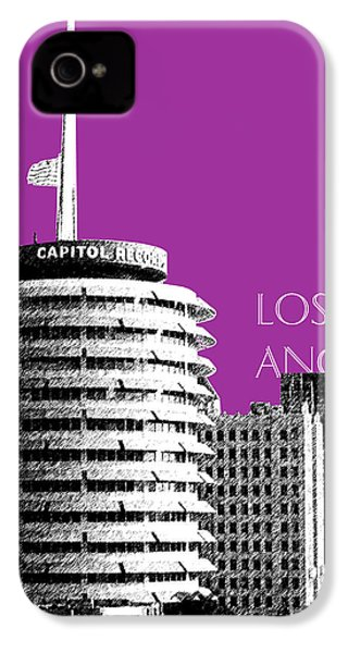 Los Angeles Skyline Capitol Records - Plum IPhone 4 / 4s Case by DB Artist