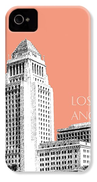 Los Angeles Skyline City Hall - Salmon IPhone 4 / 4s Case by DB Artist