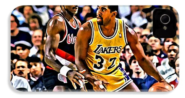 Magic Johnson Vs Clyde Drexler IPhone 4 / 4s Case by Florian Rodarte