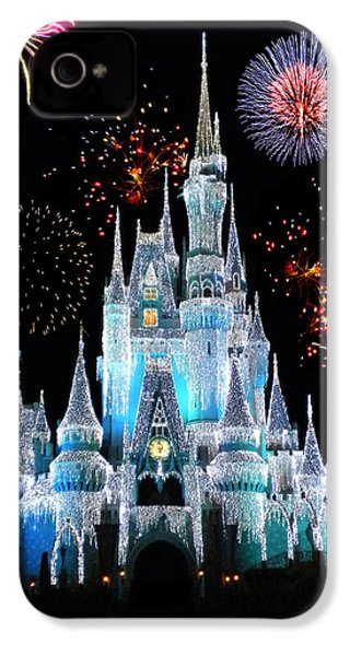 Magic Kingdom Castle In Frosty Light Blue With Fireworks 06 IPhone 4 / 4s Case by Thomas Woolworth